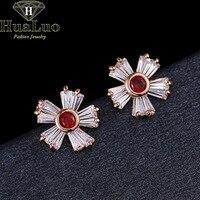 Simple Elegant Fashion Earrings Crystal Stud Earrings Gold Color Flower Shape Earrings For Women Jewelry BREW9-10