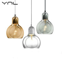Modern Pendant Lights Clear Glass Lampshade Loft Pendant Lamps E27 220V for Dinning Room Home Decoration Lighting Amber Glass