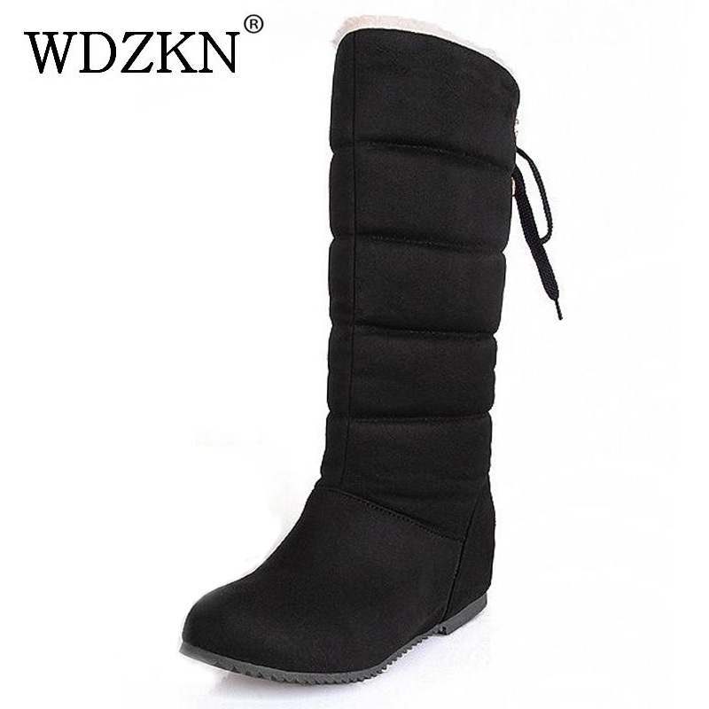 WDZKN 2017 Big Size 34-44 Women Snow Boots Mid-calf Height Increasing Thick Plush Warm Shoes Women Winter Boots H2018 double buckle cross straps mid calf boots