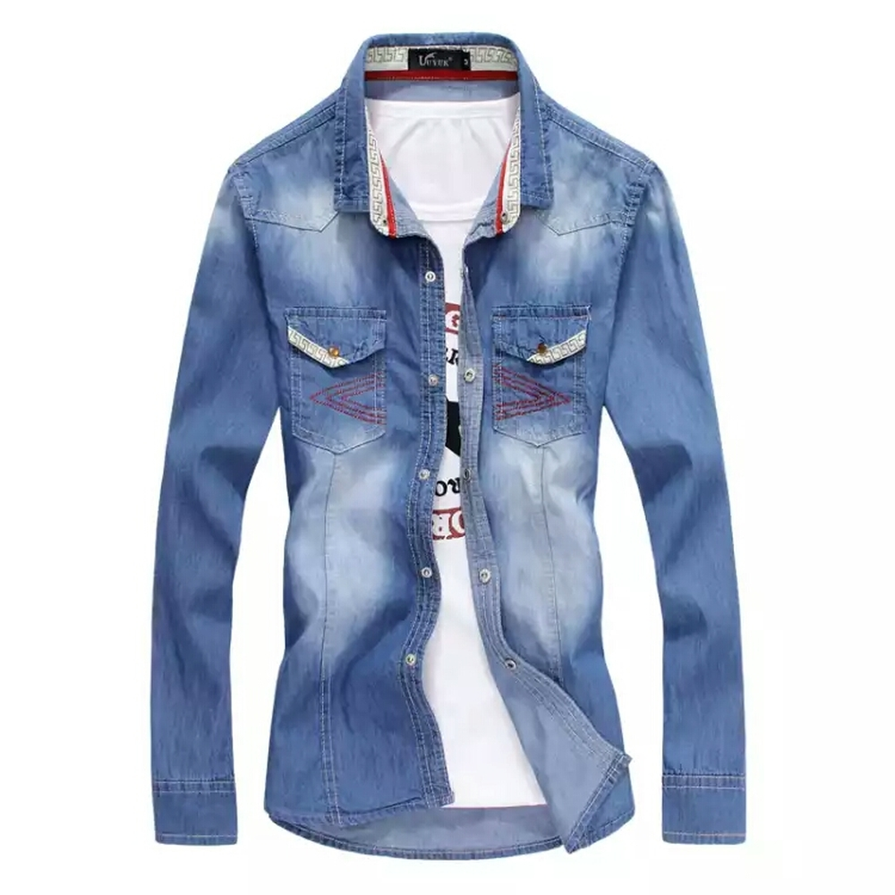 Shirts Mens Clothing 2018 spring autumn new long-sleeved blue denim shirt jacket casual  ...