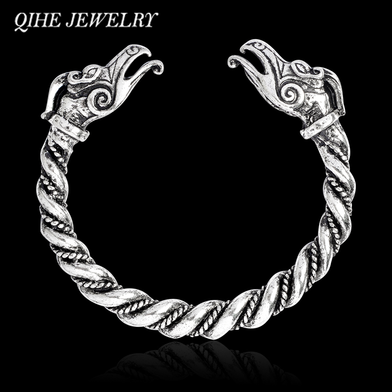 QIHE JEWELRY Bangle & bracelet Ancient silver color dragon head open bangle Viking bracelet Norse jewelry Gifts for Him