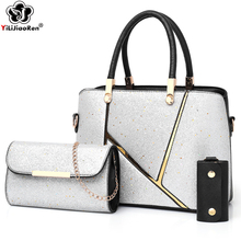 Fashion Patchwork Women Handbag Set Luxury Sequin Shoulder Bag Female Big Tote Bag Brand Leather Crossbody Bags for Women 2019