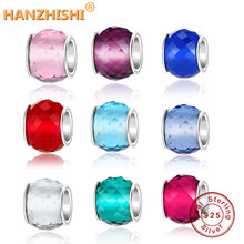 925 Sterling Silver Pink/Red/Blue/Clear CZ Murano Glass Beads Fits Original Pandora Charm Bracelet Jewelry Making DIY Gift 2018(China)