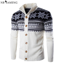 Sweater Men Christmas Snowflake Cardigan Coat Mens 2016 Autumn Casual Brand Clothing Knitted Sweaters Jumper Knitwear 13M0677