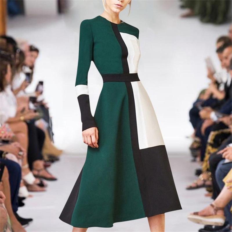High Fashion Designer Runway Dress 2019 Women's New Spring Long Sleeve Contrast Color Simple Casual Midi Dress Female Vestidos