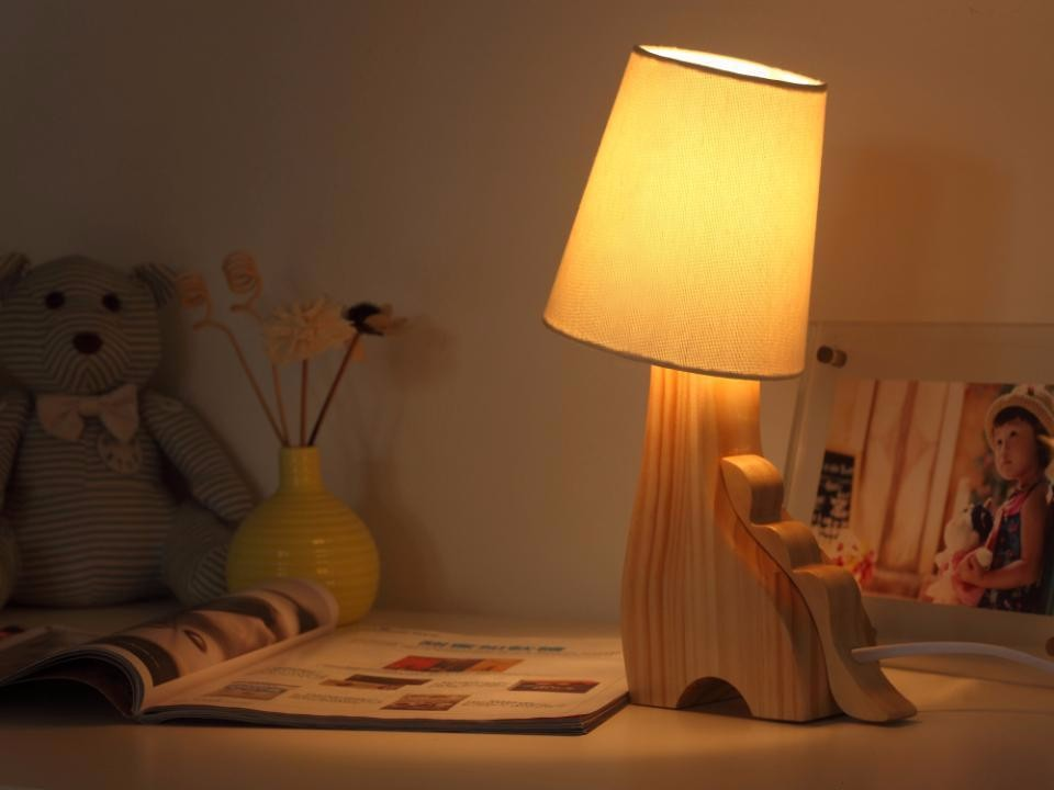 Online Shop Cute Animal Wooden Table Lamp DeerDragonCat E27 Wood