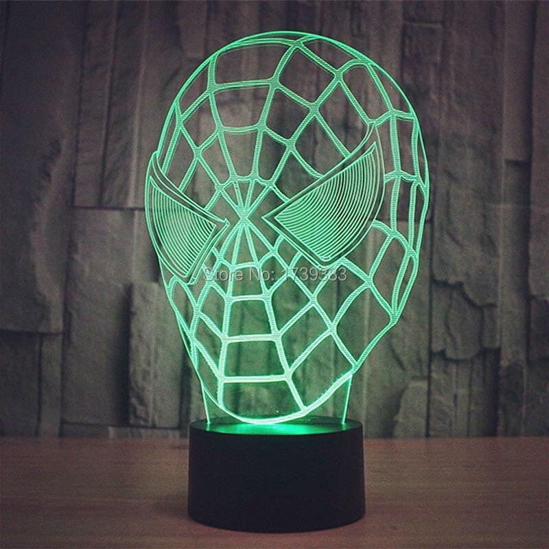 ᗔ10 unids/lote color cambiante USB 3D Spider Man máscara acrílico ...