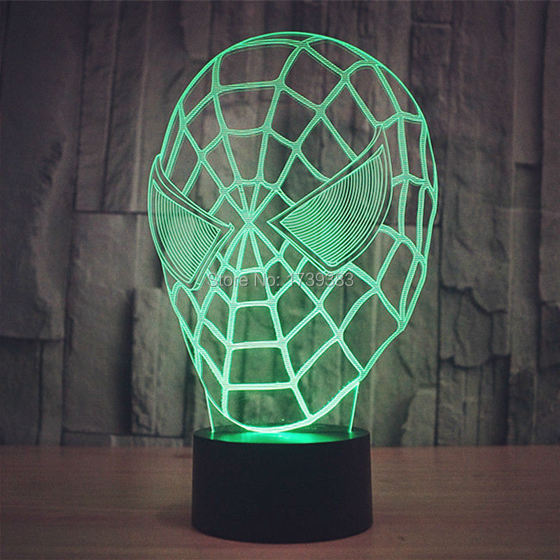 10pcs/lot Color Changing Android USB 3D Spider Man Mask Acrylic Flashing LED night light with 3D illuminated table lamp
