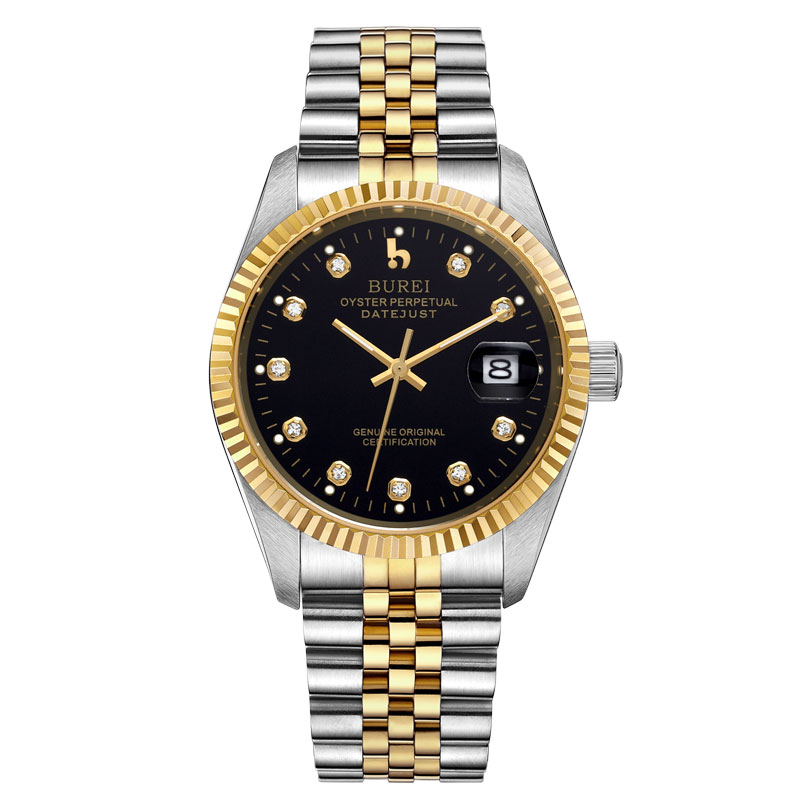 BUREI 5003 Switzerland oyster perpetual datejust MIYOTA Men Automatic Watch Two-Tones Black Dial Gold Plated Stainless Steel rolex datejust blue dial automatic stainless steel and 18k yellow gold mens watch 116233blsj