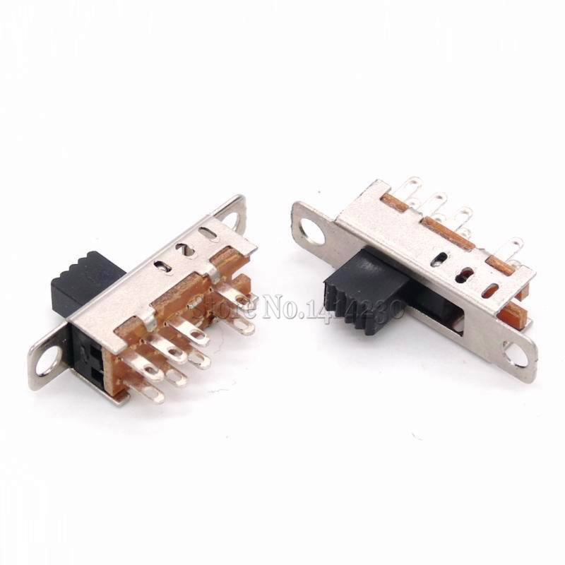 10Pcs SS23E04 Double Toggle Switch 8 Pins 3 Files 2P3T DP3T Handle High 5mm Small Slide Switch