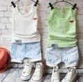 Новые 2016 летние мальчики жилет + короткие брюки комплектов одежды 2 шт. детей комплект для летних дети одежда детская одежда комплект бесплатная доставка