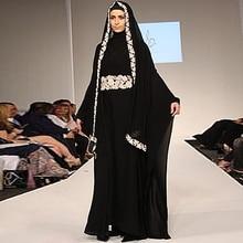 Black Full Long Sleeve Muslim Evening Dress Women Islamic Dresses With Hijab Women Turkish Abaya Kaftan Evening Gowns For Party