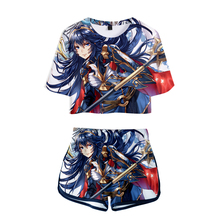 LUCKYFRIDAYF Kpop 3D Summer Cool Shorts And T-shirts LUCINA Fashion Women Two Piece Sets Skull Print Crop Top Clothes