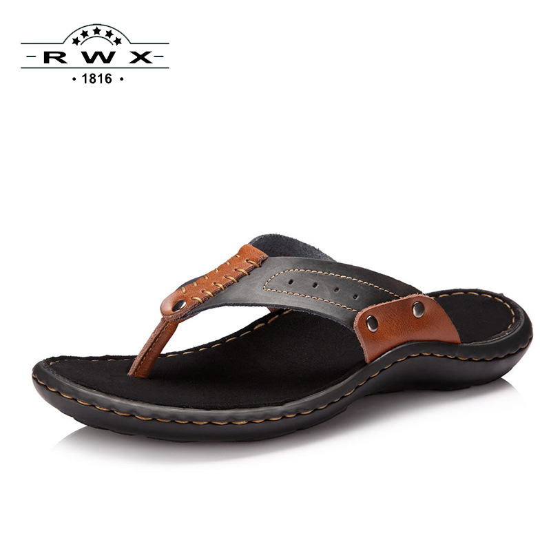2017 Summer Men Sandals Beach Shoes Casual Flip Flops Comfortable Beach Slippers Massage Genuine Leather Handmade Sandals Men