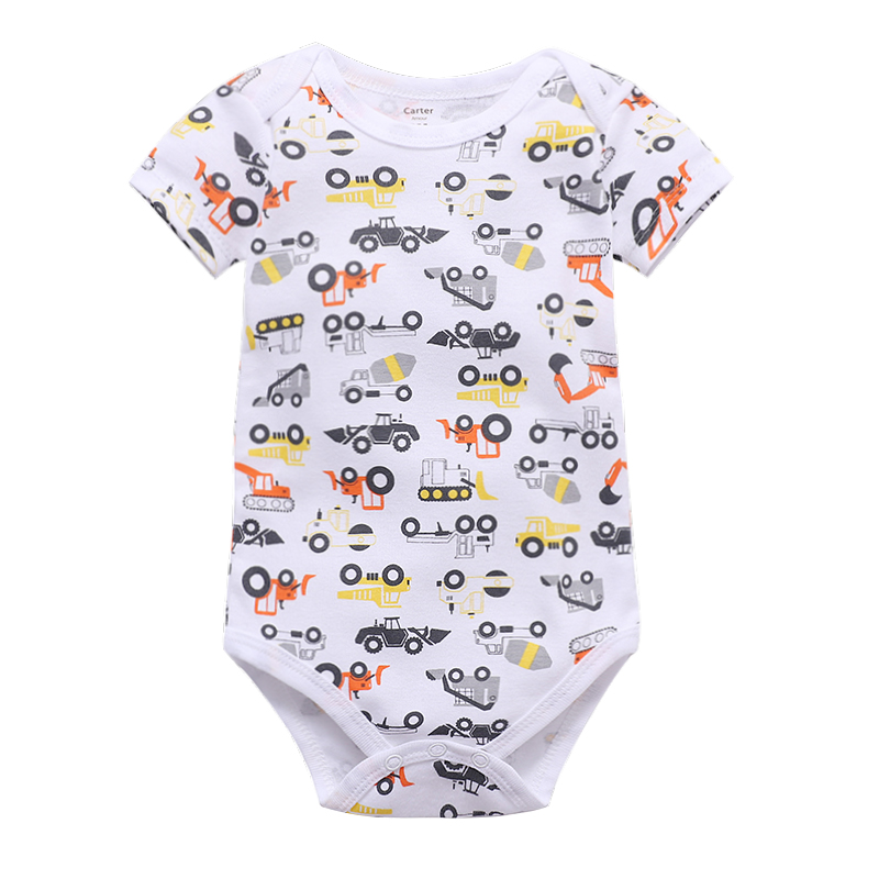Newborn Bodysuits Baby Girl Clothes Summer Short Sleeve Cute Cartoon Pink Print Infant Clothing in Bodysuits from Mother Kids