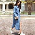 Verragee Женщины Осень Зимнее Пальто 2016 Мода Отверстие Джинсовые Длинную Траншею пальто Женщины С Длинным Рукавом Плюс Размер X Долго Джинсовой Пальто