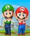 Super Mario Ação Nendoroid Figura 1/10 scale pintada figura 473 # Mario & 393 # Boneca Luigi PVC ACGN figura Brinquedos Brinquedos Anime
