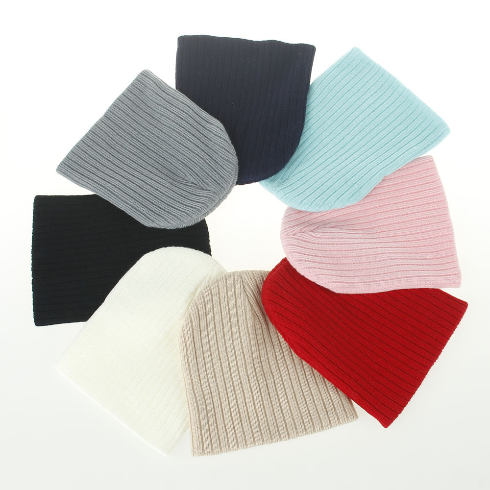 New Autumn And Winter Boys And Girls Solid Color Striped Wool Knit Hat Baby Autumn And Winter Warm Caps 8 Colors