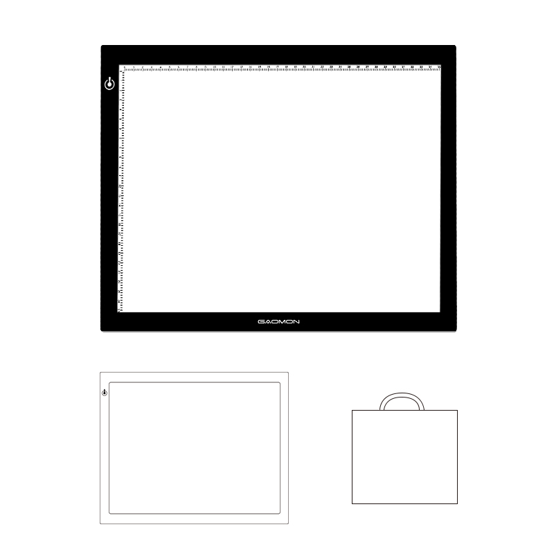 GAOMON GB4 Ultra thin Micro USB Light Pad B4 Size Tracing Board for Sketching Copying with White Recycling Non woven Bag