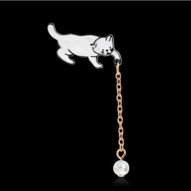 Jisensp โลหะผสมน้อยน่ารักสีขาวมุก Cat เข็มกลัด Pins CHIC แฟชั่นเครื่องประดับ Bijoux เข็มกลัดขายส่งผู้หญิงอุปกรณ์เสริม