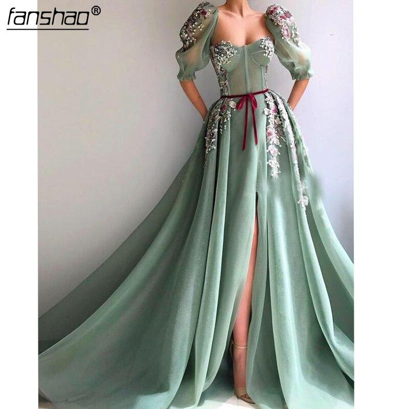 Mint Green Muslim Evening Dress High Slit Lace A Line Islamic Dubai Saudi Arabic Long Elegant Evening Gown Long Prom Dress-in Ev
