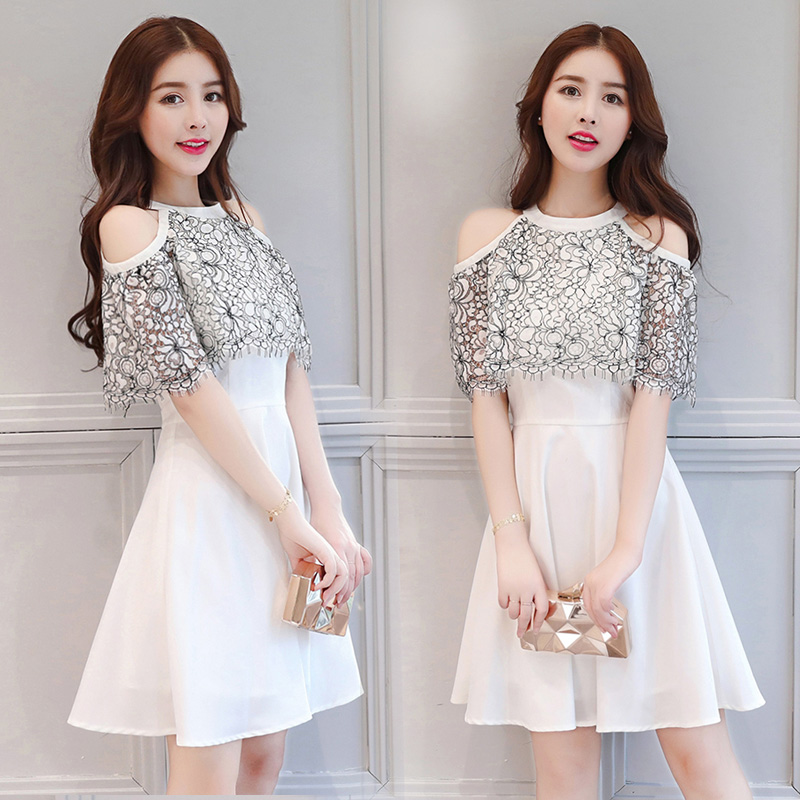 Patchwork Lace Teenage Dress Women 2018 New Summer Dresses Short Sleeve O neck Bodycon Women Dress
