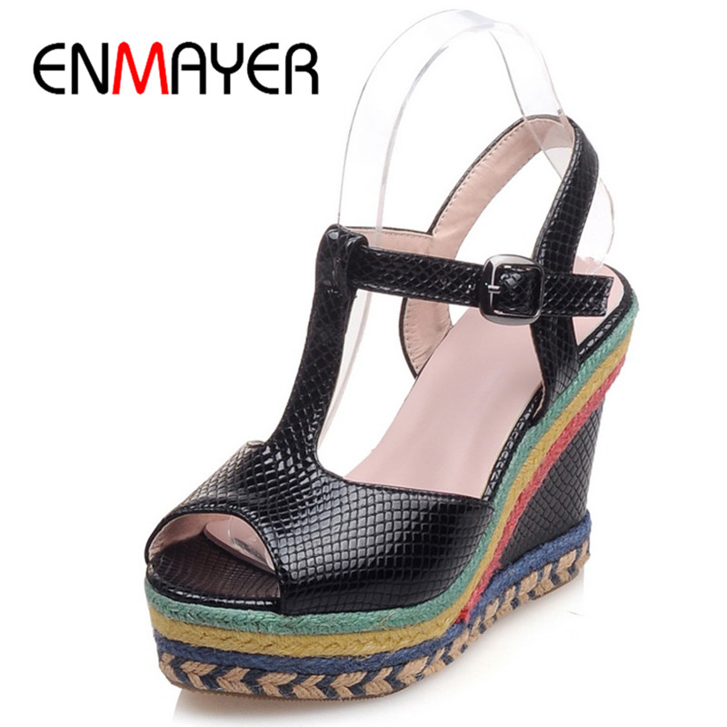 ФОТО ENMAYER Summer Sandals Pumps Shoes Woman Ankle T-strap Peep Toe Serpentine Platform Shoes in Womens High Heels Wedges PlusSize43