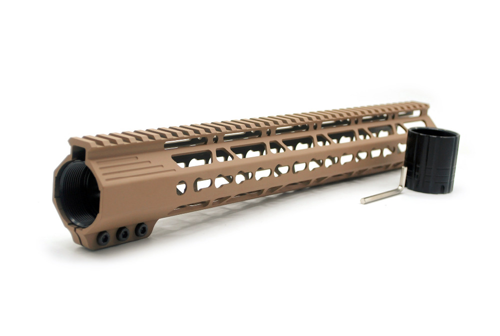 .308 15'' Inch Tan Printed Clamping Low Profile Keymod Picatinny Rail Handguard Fit LR-308