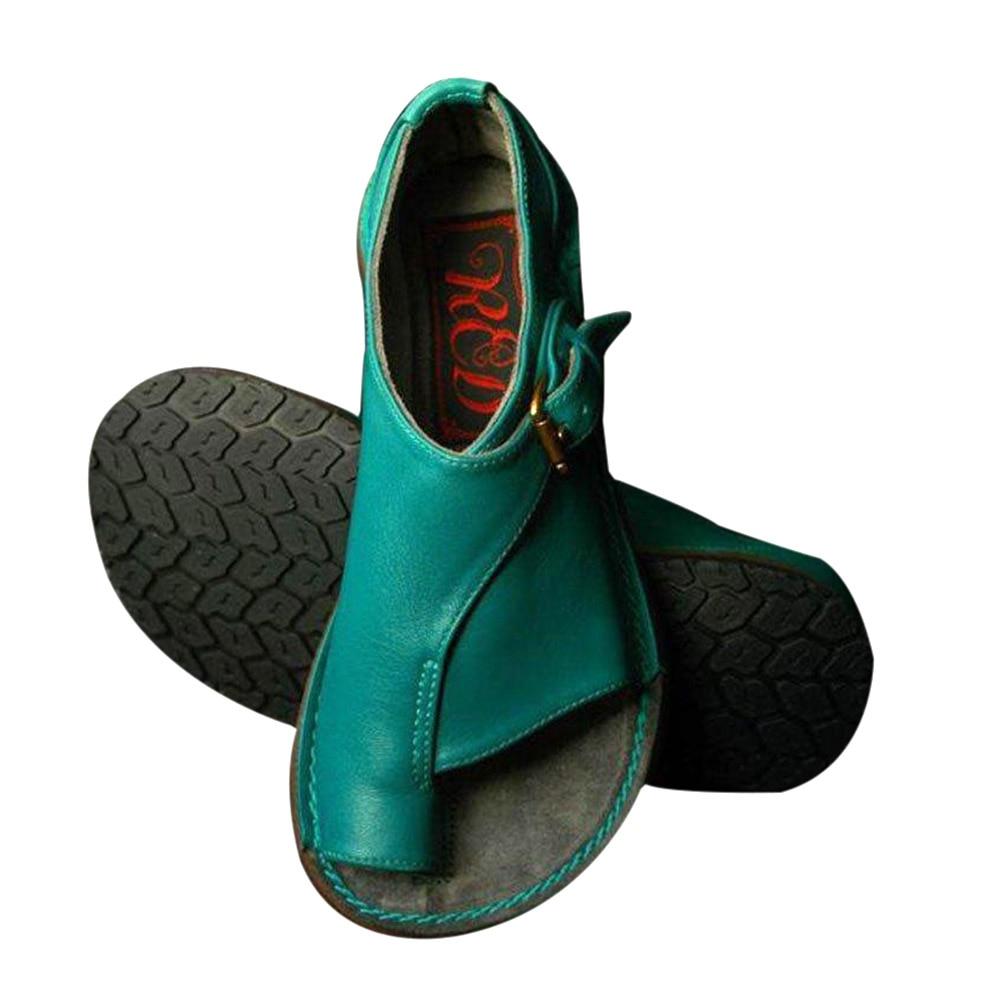 2019 Neue Mode Vintage Frauen Schnalle Flache Ferse Sandale Schuhe Sommer Strand Reise Schuhe Lby2019