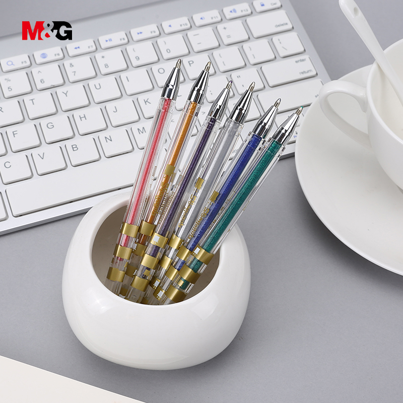 M&G 6color/set 1mm kawaii white gel pen for school supplies cartoon pattern photo albem pens cute office stationery gift for kid 5packs lot 10 colors new cute cartoon colored gel pen set kawaii stationery gift office