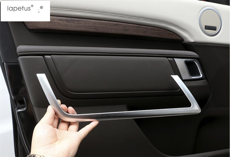 Lapetus Accessories For Land Rover L462 Discovery 5 2017 2018 2019 Inner  Car Door Armrest Shape U Frame Molding Cover Kit Trim