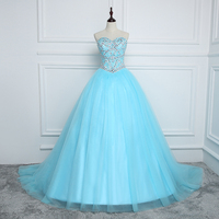 Gorgeous Sweetheart Beaded Sky Blue Ball Gowns Anxia Classy Strapless Tulle Sleeveless Shining Long Quinceanera Dresses 2016