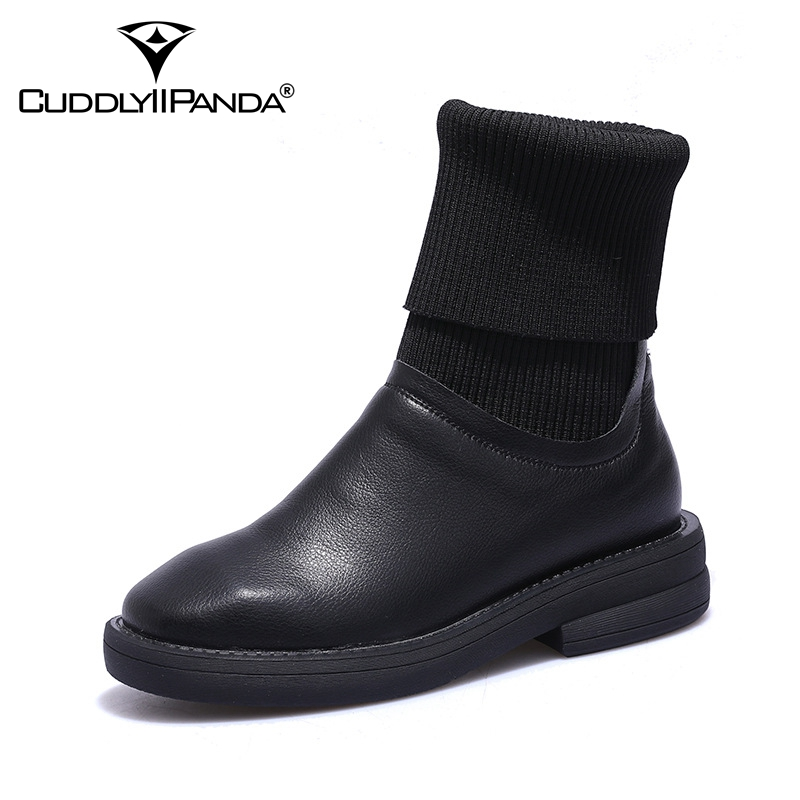 CuddlyIIPanda Women Fashion Ankle Snow Boots Genuine Leather Sock Boots Autumn Winter Warm Martin Boots Woman Casual Shoes цена 2017