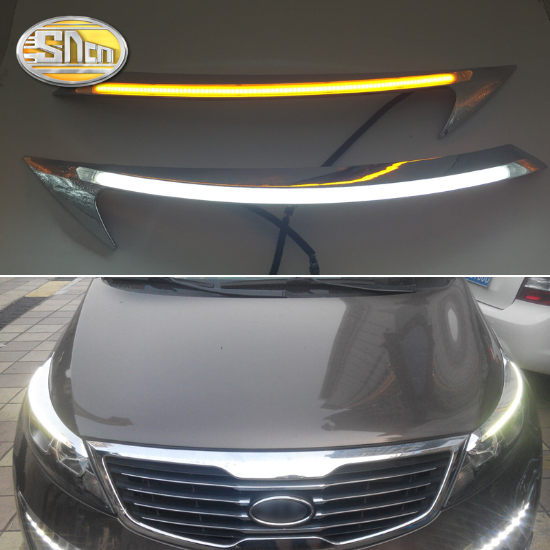 SNCN 2PCS Car Headlight Eyebrow Decoration Yellow Turn Signal Relay DRL LED Daytime Running Light For Kia Sportage 2011 - 2015 car styling led headlight brow eyebrow daytime running light drl with yellow turn signal light for hyundai ix35 2010 2013