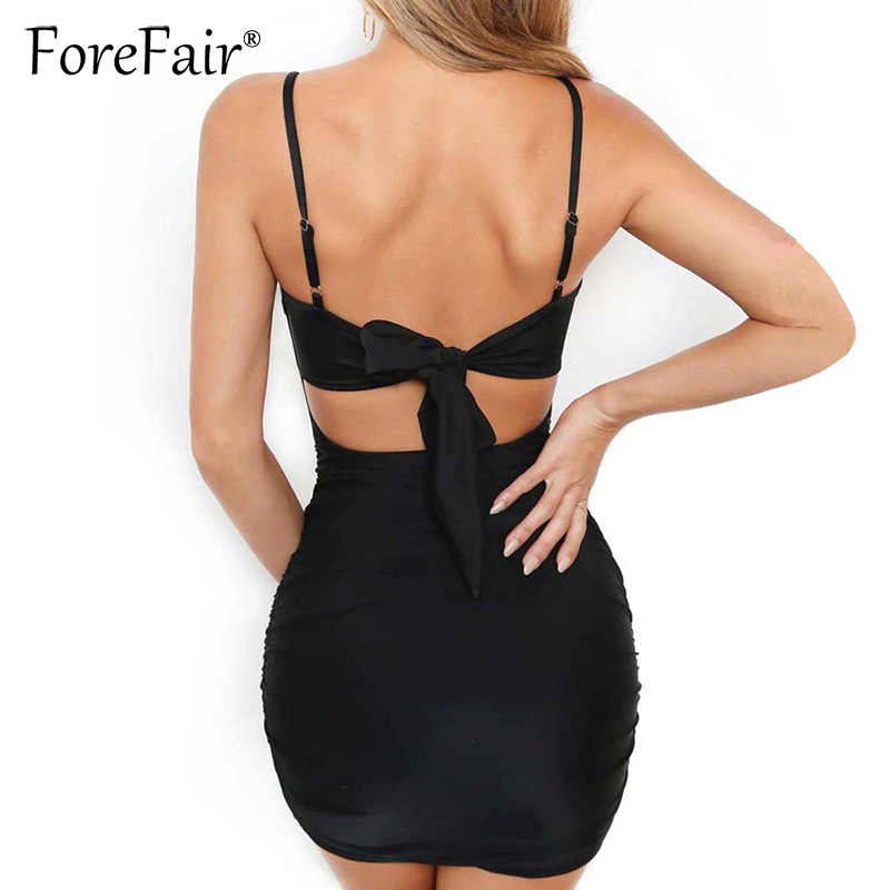 86df3dce28ef0 Forefair Slim Mini Bodycon Dress Women Summer Dress Sexy Sleeveless Back  Bow Tie Night Club Party Dresses