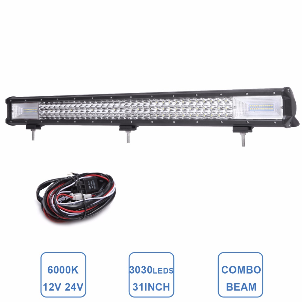 31'' OFFROAD LED WORK LIGHT BAR COMBO CAR AUTO SUV BOAT 4X4 WAGON TRUCK CAMPER DRIVING LAMP 12V 24V TRAILER PICKUP RZR LIGHTING offroad 23 240w led light bar driving lamp 12v 24v truck suv 4x4 4wd trailer van camper car boat wagon rzr combo work light