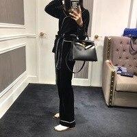 Europe 2018 spring new ladies temperament suit collar pajamas belt style fashion casual velvet suit