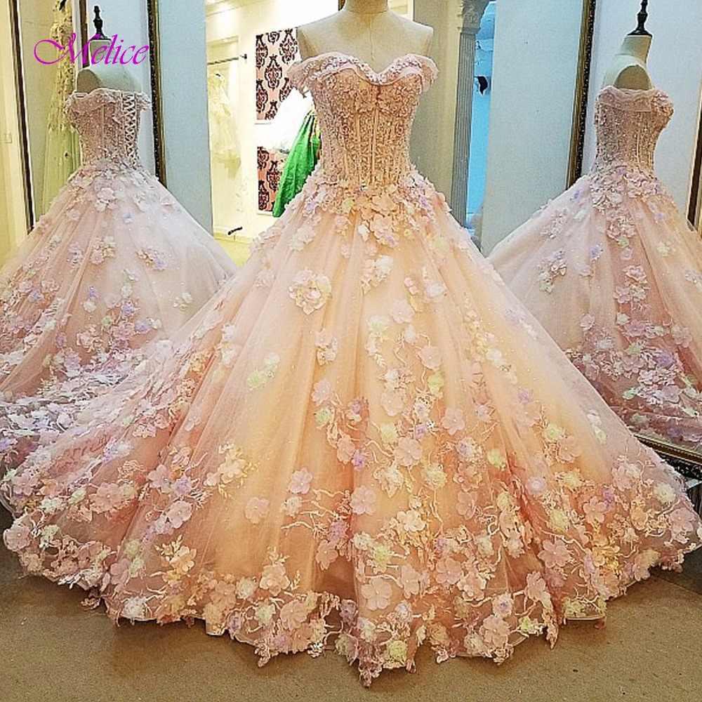 6faea60a75e Melice Strapless Appliques Sweep Train Princess Quinceanera Dresses 2019  Beaded Sequnied Debutante Dress For Vestido de