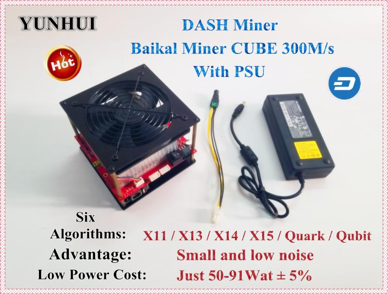 Baikal CUBE 300M/S WITH PSU DASH Miner Support X11 / X13 / X14 / X15 / Quark / Qubit Algorithm Better Than Antminer D3 X11 Mini 1