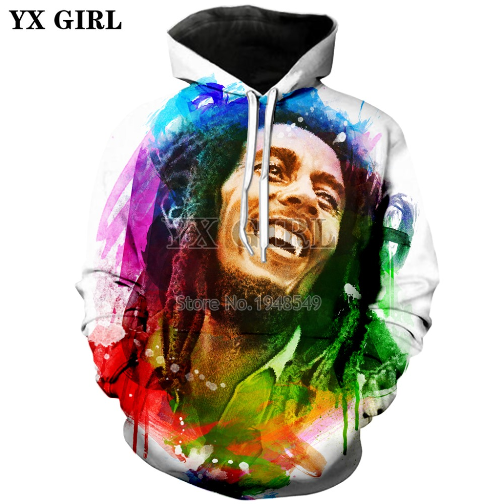 YX GIRL Drop shipping 2018 New Fashion Hip hop style Hoodie Reggae Bob Marley Print 3d Men's Women's Casual Hooded sweatshirt