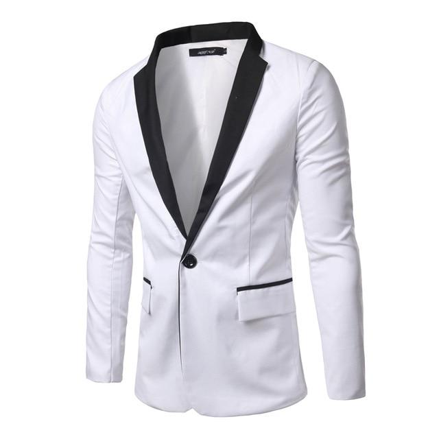 2016 marca de ropa blanca de los hombres blazer casual slim fit de manga larga blazers solo botón chaqueta masculina de la chaqueta