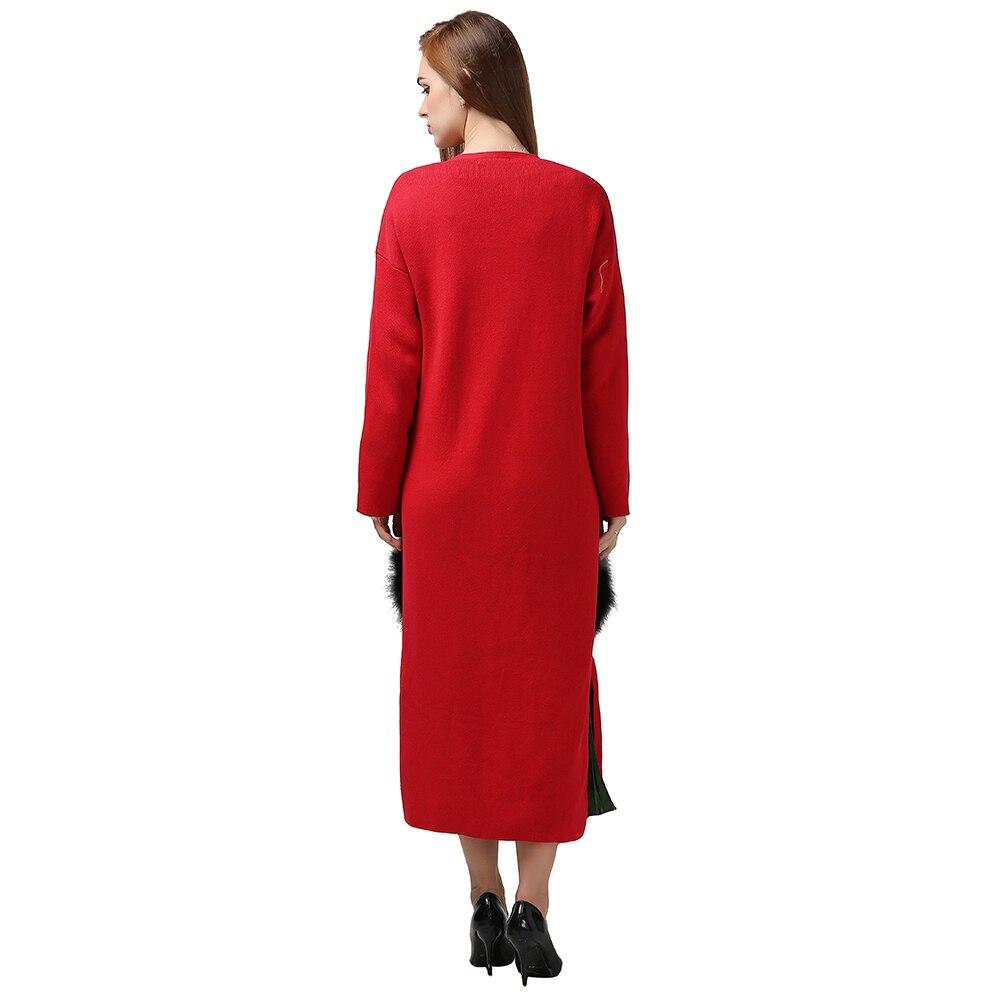 Naturel Femmes Poches D'hiver Pardessus vent gray Tranchée Tricoter De red Base Amovible Manteau Blue Cardigan khaki Femelle Coupe Fourrure Chicever Vêtements À anPdO