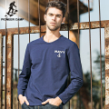Pioneer Camp 2017 spring autumn mens t shirt long sleeve o-neck cotton dark blue slim fit t-shirt print spandex 620003
