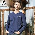 Pioneer camp 2017 primavera outono camisa dos homens t de manga longa o-pescoço de algodão azul escuro slim fit t-shirt impressão spandex 620003