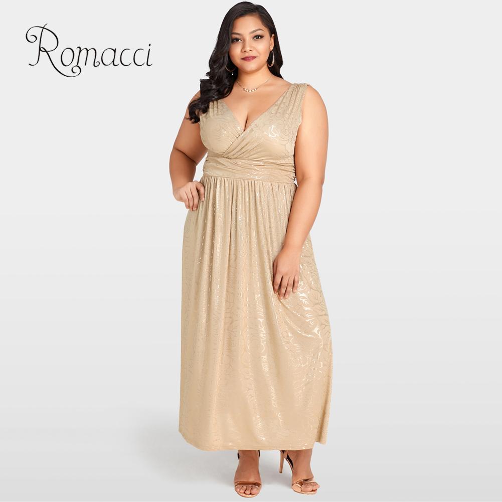 Romacci Luxury Summer Dress Women Sexy 4XL 5XL Plus Size Gold Floral Maxi  Dresses Deep V Neck Sleeveless Club Party Long Dress 02c9704da248