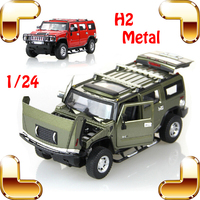 New Arrival Gift MZ H2 1/24 Metal Model Car Simulation Jeep Openable Doors Alloy Vehicle Fans Collection House Decoration Toys