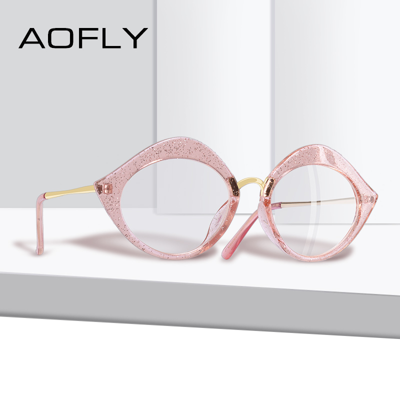 5cb8b16f31a AOFLY BRAND DESGIAN Retro Sexy Cat Eye Lip Shape Reading Plain Glasses  Frame Optical Eyeglasses Frame