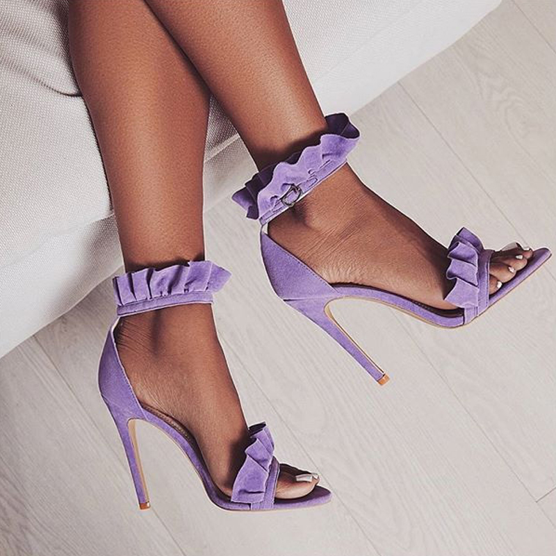 933794f35a42 Sestito 2018 Ladies Elegant Laciness Buckle Strap Dress Runway Shoes Woman  Peep Toe Cover High Heels Summer Gladiator Sandals