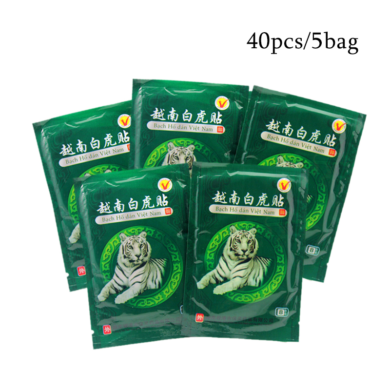 40pcs/5 Bag White Tiger Balm Plaster Patch Pain Relieving Muscle Back Arthritis Rheumatism