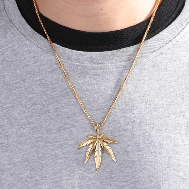 Karopel złoto srebro chwastów Herb naszyjnik charms klon wisiorek z listkiem naszyjnik Hip Hop biżuteria hurtowych